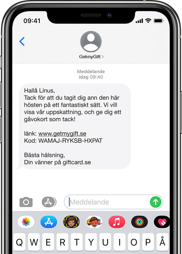 Vinga gåvokorts digitala SMS utskick