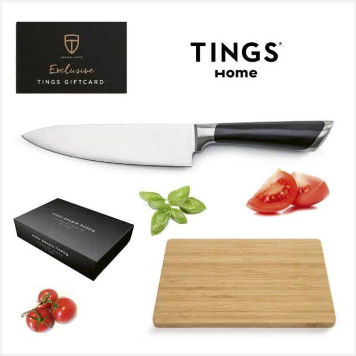 Tings gfitcard + kockkniv 32 & skärbräda