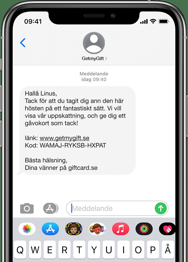 Vinga gåvokort som digitalt SMS utskick